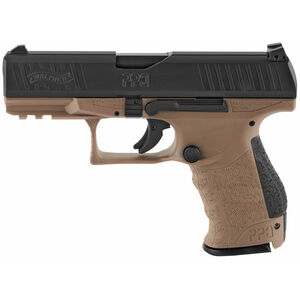 "Walther PPQ M2 9mm Luger Semi Auto Pistol 4"" Barrel 15 Rounds 3 Dot Sights Picatinny Accessory Rail Polymer Frame Tenifer Slide Finish Matte Black/FDE"
