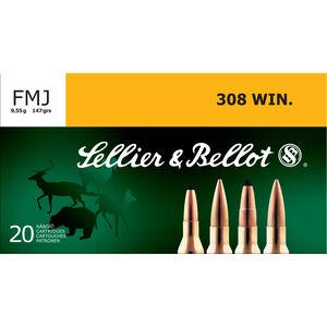 Sellier & Bellot .308 Win Ammunition 20 Rounds 147 Grain FMJ FB 2788fps
