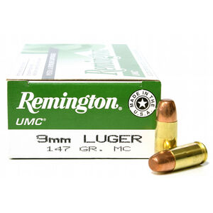 Remington 9mm Luger UMC Ammunition 50 Rounds, MC, 147  Grains
