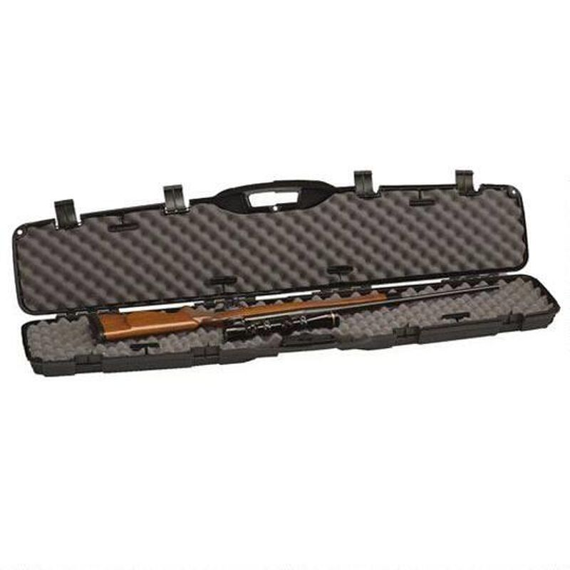 """Plano Pro-Max Single Scoped Rifle Case 52"""" Length PillarLock Crush Resistant Heavy Duty Latches Molded In Handle Thick Walled Construction Polymer Matte Black 153101"""