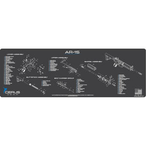 "Cerus Gear AR-15 Schematic ProMat Rifle Size 12""x36"" Synthetic Grey/Blue"