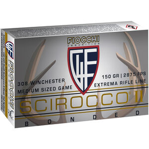 Fiocchi Extrema Rifle Line .308 Win Ammunition 20 Rounds 150 Grain Scirocco II Polymer Tipped Bullet 2875fps