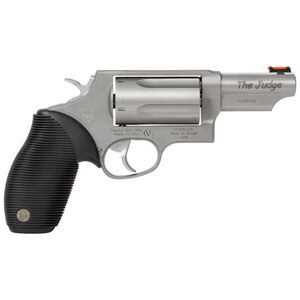 "Taurus Judge Double Action Revolver .45 Long Colt/.410 Bore 2.5"" Chamber 3"" Barrel 5 Round Fixed Red Fiber Optic Front Sight/Fixed Rear Sight Ribbed Rubber Grip Matte Stainless Finish"