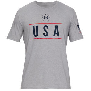 Under Armour Men's USA Chest T-Shirt Size Small Cotton/Polyester Blend Steel Light Heather Gray