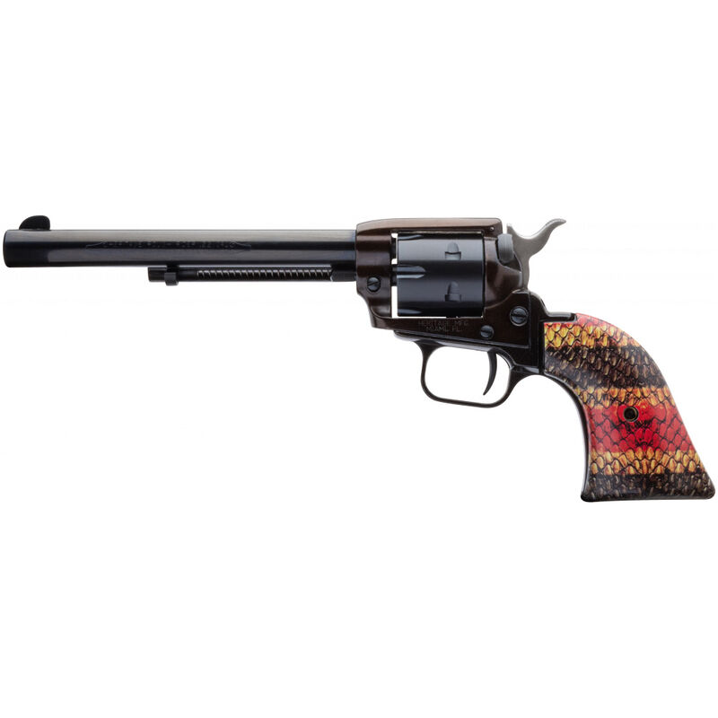 """Heritage Rough Rider Coral Snake .22 LR Single Action Rimfire Revolver 6.5"""" Barrel 6 Rounds TALO Exclusive Coral Snake Skin Synthetic Grips Blued"""