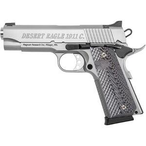 "Magnum Research Desert Eagle 1911c .45 ACP Full Size Semi Auto Pistol 4.33"" Barrel 8 Rounds Commander Profile Black/Gray G10 Grips Stainless Finish"
