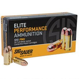 SIG Sauer Elite Performance 9mm Luger Ammunition 50 Rounds FMJ 124 Grains E9MMB250