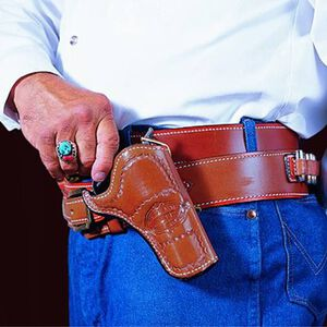 """DeSantis Doc Holliday Cross Draw Belt Holster Colt Single Action Army 4.75"""" Right Hand Leather Tan 083TC54Z0"""