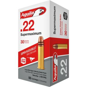 Aguila Supermaxium .22 LR Ammunition 50 Rounds 30 Grain CP SP 1700fps