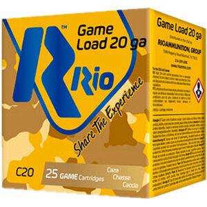 "RIO Ammunition Game Load 20 Gauge Ammunition 250 Rounds 2-3/4"" Shell #7.5 Lead Shot 1oz 1250fps"