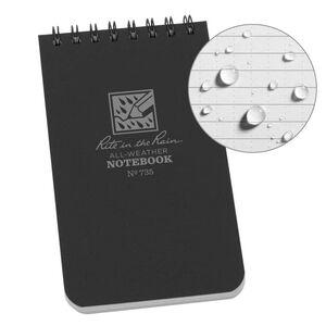 "Rite in the Rain All-Weather Notebook 3"" x 5"" Waterproof Polydura Black"