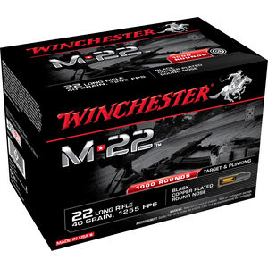 Winchester M-22 .22LR Ammunition 40 Grain Black Copper Plated LRN 1255 fps