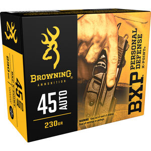 Browning BXP Personal Defense .45 Auto Ammunition 230 Grain X-Point JHP 920 fps