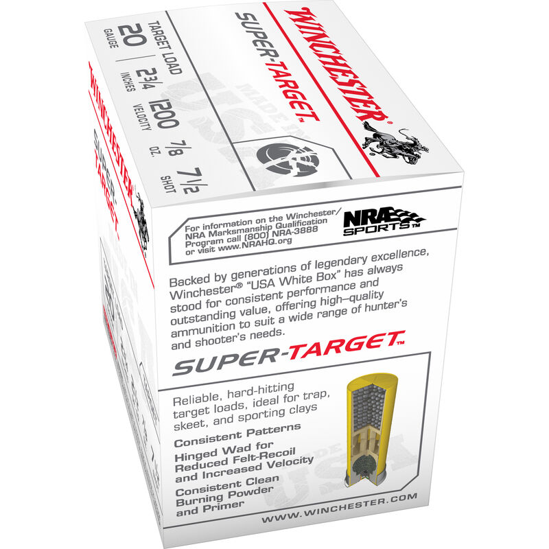 "Winchester Super-Target 20 Gauge Ammunition 250 Rounds 2.75"" #7.5 Lead 7/8 Ounce TRGT207"