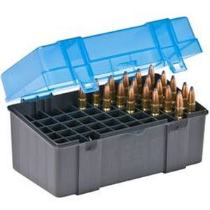 Plano Ammo Box 50 Rounds Large Rifle Polymer Flip Top Blue 123050