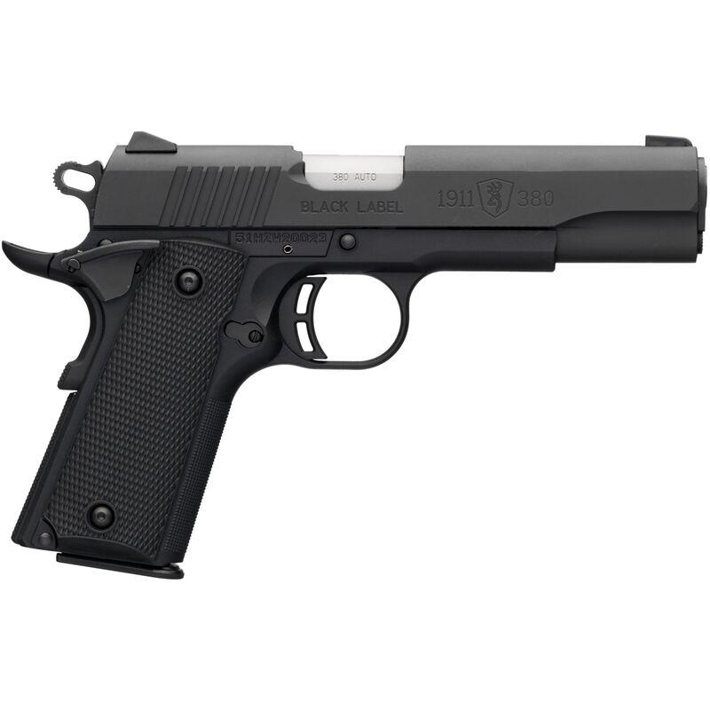 "Browning 1911-380 Black Label .380 ACP Semi Auto Pistol 4.25"" Barrel 8 Rounds Combat Sights Steel Slide Polymer Frame Black Finish"
