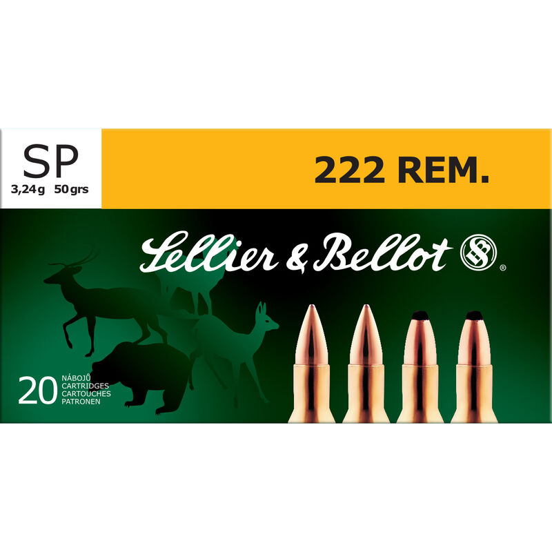 Sellier & Bellot .222 Remington Ammunition 20 Rounds SP 50 Grains SB222A