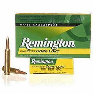 Remington Express 7mm Remington SA Ultra Magnum Ammunition 20 Rounds 150 Grain Core-Lokt PSP Soft Point Projectile 3110fps