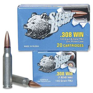 Silver Bear .308 Winchester Ammunition 20 Rounds, FMJ, 145 Grains