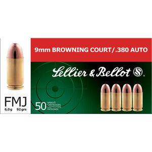Sellier & Bellot .380 ACP Ammunition 92 Grain FMJ 955 fps 50 Rounds