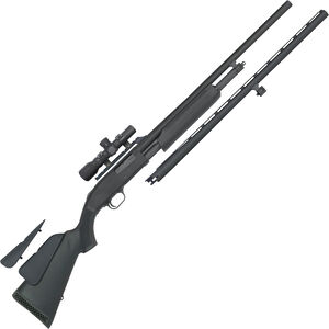 "Mossberg 500 Field/Deer Combo 20 Gauge Pump Action Shotgun 24"" and 26"" Barrels 3"" Chamber 5 Rounds Synthetic Stock Matte Blued"