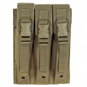Voodoo Tactical 9mm MP5/SMG Triple Magazine Pouch Buckle Closure Flap MOLLE Webbing Compatible Nylon Coyote Tan