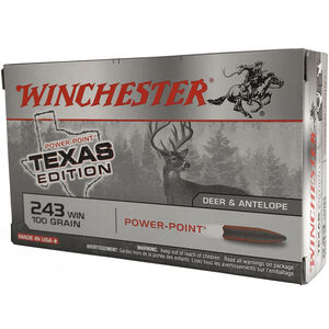 Winchester Super X .243 Win Ammunition 200 Rounds Texas Edition Power Point 100 Grains
