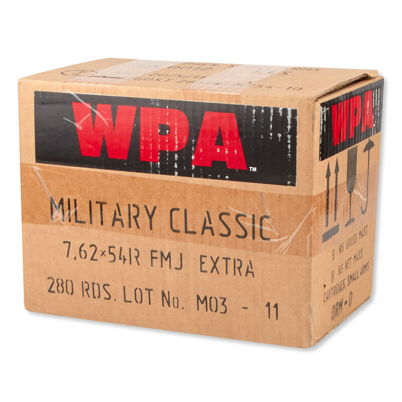 Wolf Military Classic 7.62x54R Ammunition 280 Rounds Match FMJ 200 Grains