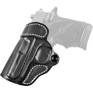DeSantis Gunhide Criss-Cross S&W Bodyguard .380 with Laser OWB Cross Draw Belt Holster Left Handed Leather Black
