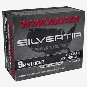 Winchester Silvertip 9mm Luger Ammunition 20 Rounds JHP 115 Grains W9MMST
