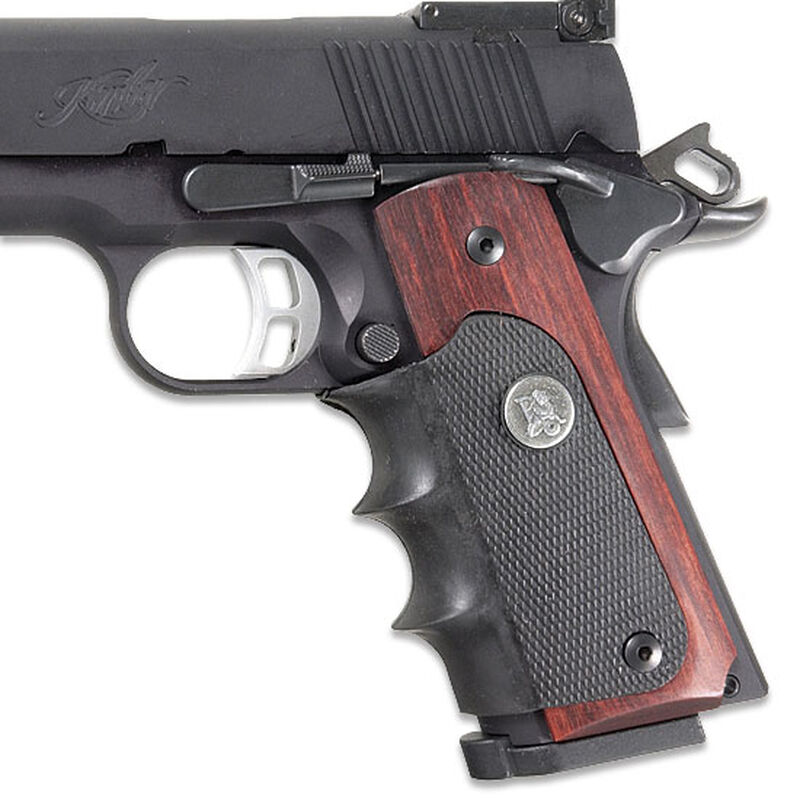 Pachmayr American Legend 1911 Grips With Finger Grooves Wood/Rubber Brown  00423