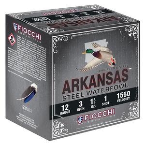 "Fiocchi Arkansas Steel Waterfowl 12 Gauge Ammunition 3"" #1 1-1/5oz Steel Shot 1550 fps"