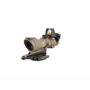Trijicon ACOG 4x32 ECOS Scope Center Illuminated Amber Crosshair 5.56 Ballistic Reticle With Backup Iron Sights and LED 3.25 MOA Red Dot RMR Matte Black Finish