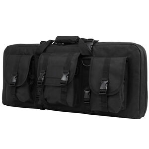 "NcSTAR AR15 and AK Deluxe Carbine Pistol Case 28""x12"" 3 Exterior Pockets Padded Divider PVC Black"