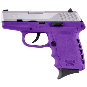 """SCCY Industries CPX-2 Semi Auto Handgun 9mm Luger 3.1"""" Barrel 10 Rounds Purple Polymer Frame with Satin Stainless Steel Finish CPX-2TTPU"""