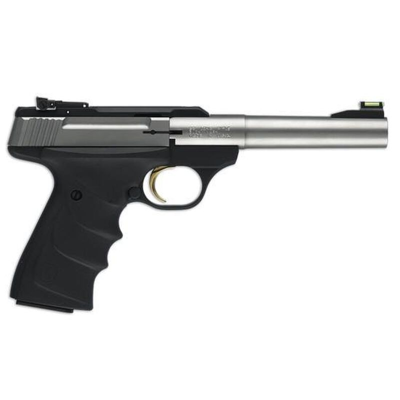 """Browning Buck Mark Stainless Camper Semi Auto Pistol .22 LR 5.5"""" Tapered Bull Barrel 10 Rounds Ultragrip RX Adjustable Rear Sight Fiber Optic Front Sight Stainless Steel 051442490"""