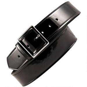 "Boston Leather 6505 Leather Garrison Belt 38"" Brass Buckle Clarino Leather Black"