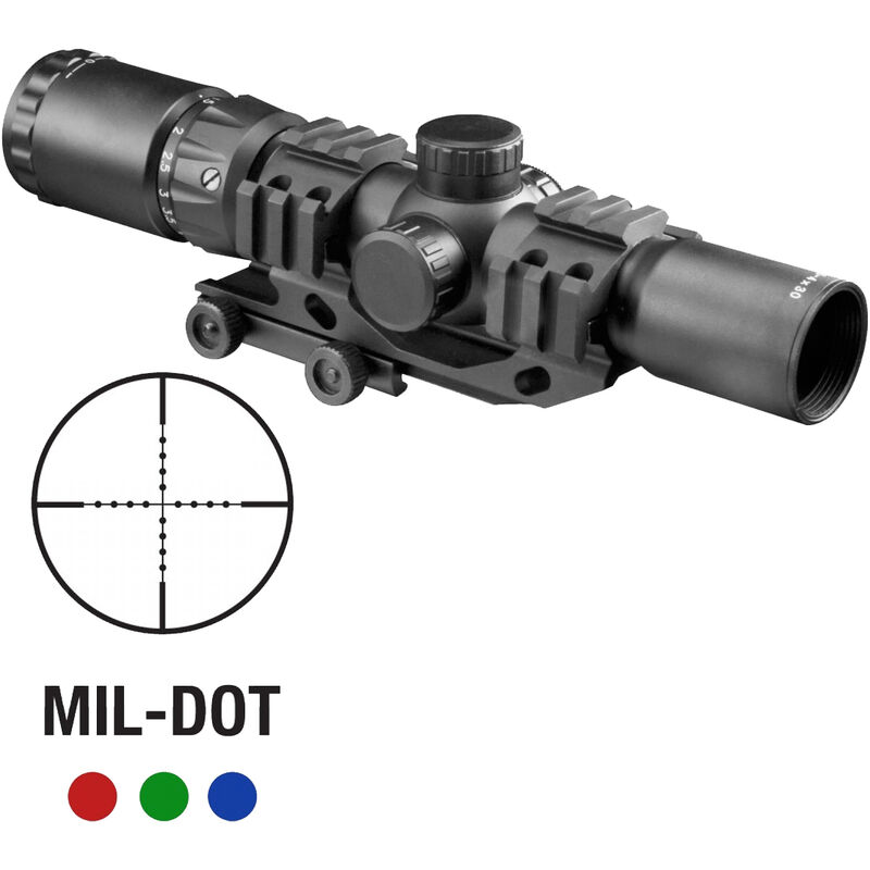 Aim Sports Recon Series 1.5-4x30mm Tactical Rifle Scope Illuminated Mil-Dot Reticle 30mm Tube Aluminum Black