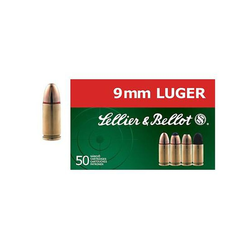 Sellier & Bellot NonTox 9mm Luger Ammunition 50 Rounds TFMJ 115 Grains SB40NTA