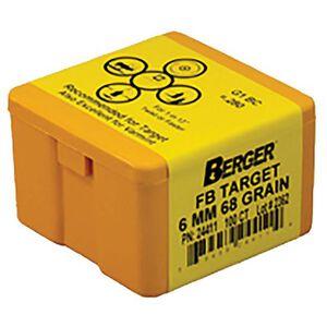 """Berger 6mm Caliber .243"""" Diameter 68 Grain Match Target Hollow Point Flat Base Rifle Bullet 100 Count 24411"""