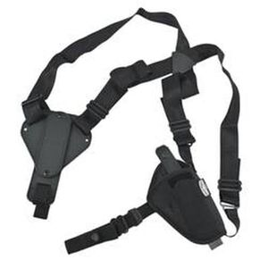 "Uncle Mike's Sidekick Cross Harness Horizontal 3.75""-4.5"" Barrel Large Frame Semi Autos Shoulder Holster Ambidextrous Nylon Black 8715-0"