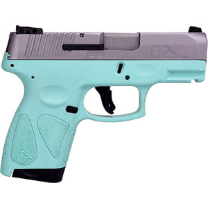 "Taurus G2S Slim 9mm Luger Semi Auto Pistol 3.2"" Barrel 7 Rounds Single Action with Restrike 3 Dot Sights Thumb Safety Cyan Polymer Frame Stainless Finish"