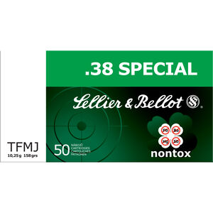 Sellier & Bellot Nontox .38 Special Ammunition 50 Rounds 158 Grain Non Toxic LF TFMJ 889fps