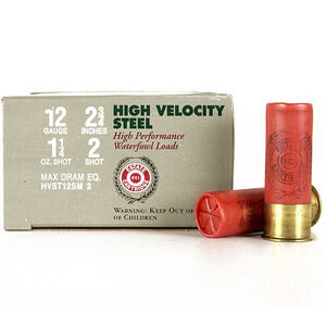 "Estate High Velocity 12 Ga 2.75"" #2 Steel 1.25oz 250 rds"