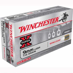 Winchester Winclean 9mm Luger Ammunition 500 Rounds, BEB, 115 Grains