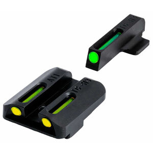 TRUGLO SIG Sauer #8 Front/#8 Rear Brite Site TFO Tritium/Fiber Optic Night Sights Green Front Yellow Rear CNC Machined Steel Black TG131ST1Y