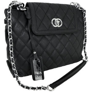 "Cameleon Coco Purse with Concealed Carry Gun Compartment 13""x8""x3"" Quilted Synthetic Leather Black"