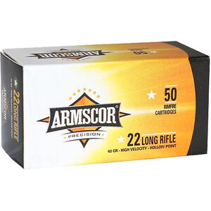 Armscor Precision .22 LR Rimfire Ammunition 50 Rounds 40 Grain HVHP 1255fps