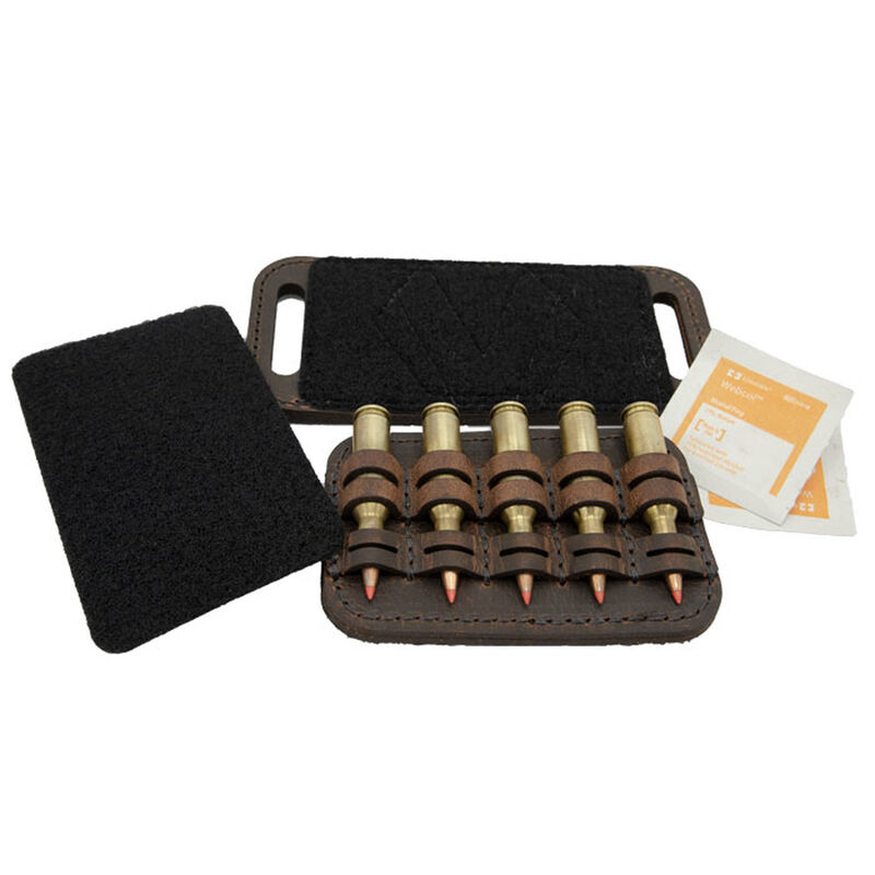 Versacarry Ammo Caddy 5 Rounds OWB or Pad Mount SIZE 3 Ambidextrous Water Buffalo Leather Distressed Brown AC23