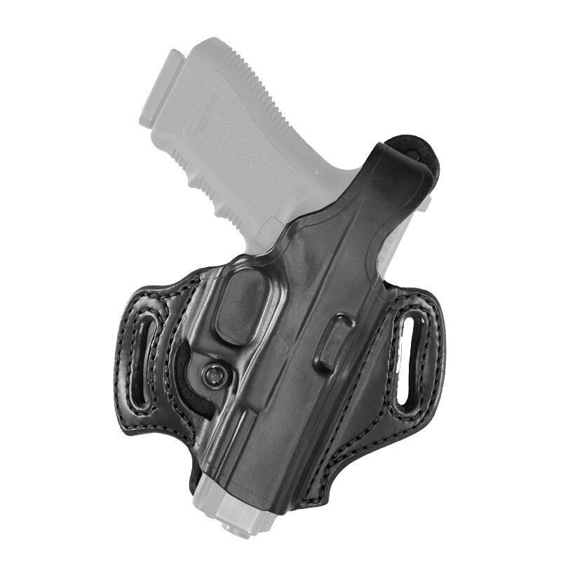 Aker Leather 168 FlatSider Slide XR12 SIG P320c Belt Holster Right Hand Leather Plain Black H168BPRU-SS320C